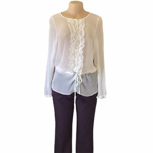 Mark. Ruffle Front Sheer Blouse with Drawstring